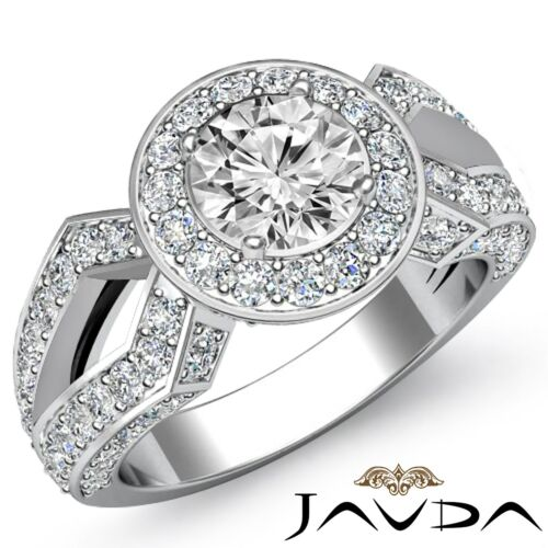 Halo Pave Round Diamond Engagement Vintage Ring GIA F VS1 14k White Gold 2.92ct