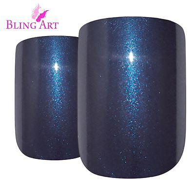 False Nails Grey Glitter French Squoval 24 Fake Medium Bling Art Tips 2g Glue
