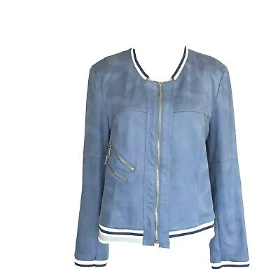 Lena Gabrielle Jacket Blue Faux-Suede Bomber Baseball Casual Lined Women's - 12