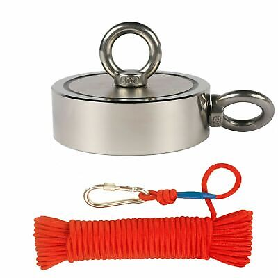 Upto 3000lbs Pull Force Double Sided Fishing Magnet W Rope Carabiner