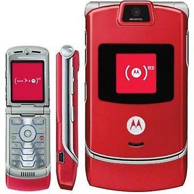 GOOD!!! Motorola RAZR V3m RED Camera CDMA Video Bluetooth Flip SPRINT Cell Phone