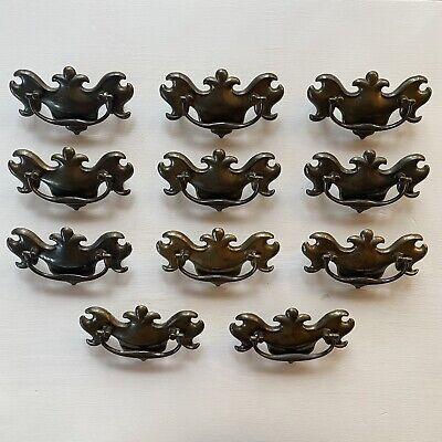 Vtg Brass /& White Drop Bail Dresser Drawer Pull LOT 8 Handle Chippendale Style