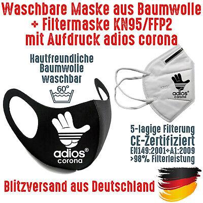 Fashion Mask Baumwolle waschbar plus FFP2 KN95 Mundschutz Maske adios corona