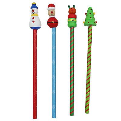 Conjunto de Navidad 4 Lápices con Madera Personaje Decoración Regalos Calcetín
