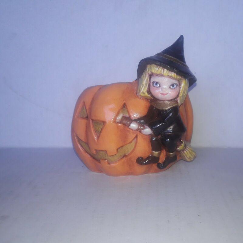 Vintage Ceramic Little Girl Witch Pumpkin Jack O Lantern Vase Excellent