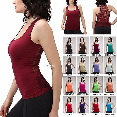 Women Sleeveless Rose Floral Mesh Lace Back Tank Top Cami Sports Tee Shirt Yoga Lace Mesh Camisole