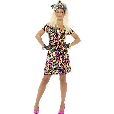80's Party Animal Print Neon Rave Eighties Womens Ladies Fancy Dress Costume (Eighties Costumes)