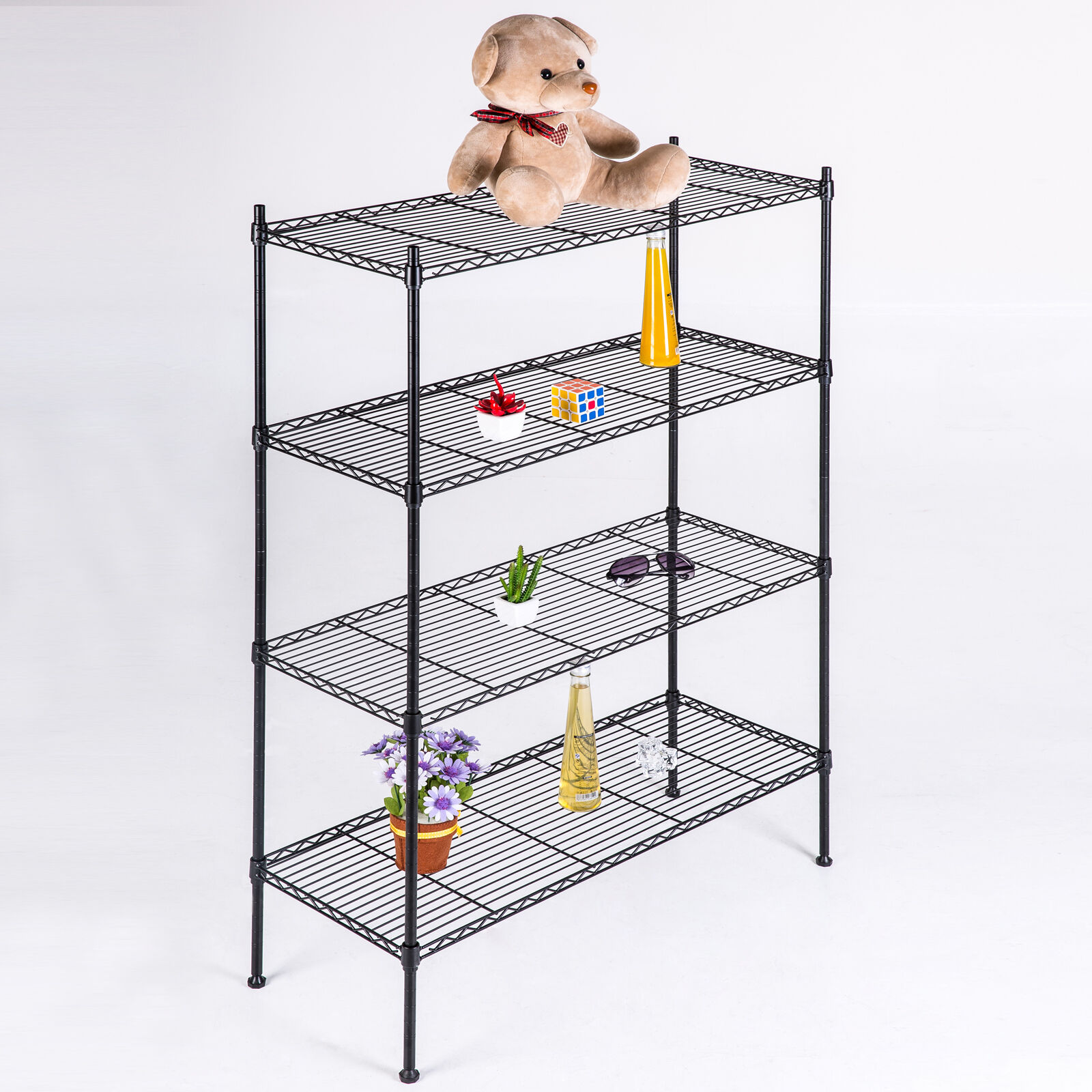 Black Storage Rack 4-Tier Organizer Kitchen Shelving Steel