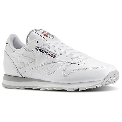 Reebok Classic Leather 101 White Grey Red Mens Shoes Fashion Sneakers Sizes (Classic Leather Sneakers)