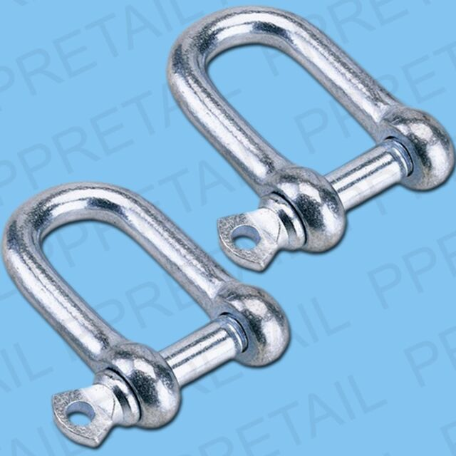 "Set Of 2 M12 EXTRA LARGE 12mm D SHACKLES 1/2"" Towing U Loop Pin Fastener STRONG"