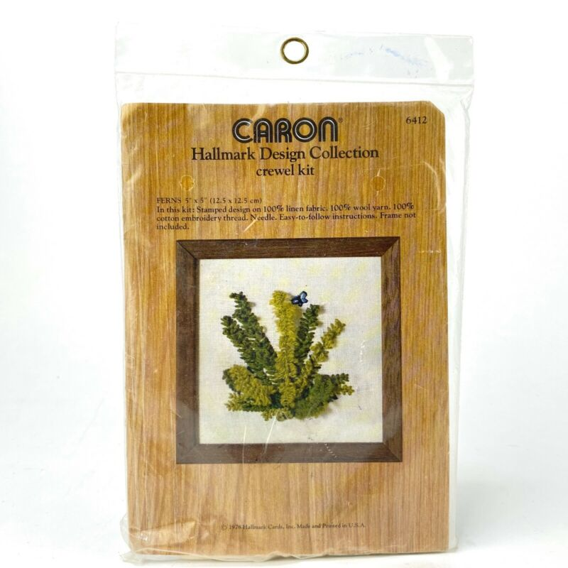 Ferns 5 x 5 Crewel Embroidery Kit Sealed Caron 6412 3D Green Plant Butterfly VTG