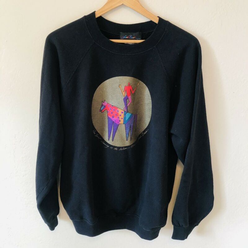 Laurel Burch Black Free Spirit Crewneck Pullover Vintage Sweatshirt Size XL