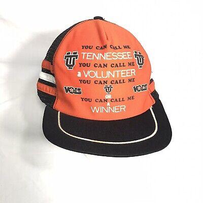 """Vintage 80's Tennessee Volunteers """"Winner"""" Mesh Trucker Hat 3 Stripes NCAA"""