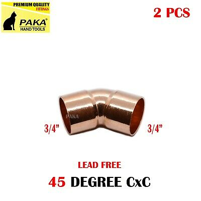 2-pack 34 Copper 45 Degree Elbow Fitting Cxc Certified Lead Free
