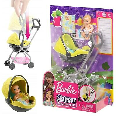 Barbie Skipper Babysitter Baby Doll and Removable Seat Playset Yellow Stroller