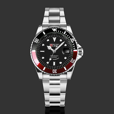 Military Royale Mens Automatic Watch Mechanical Submariner Wrist Red Black Dial