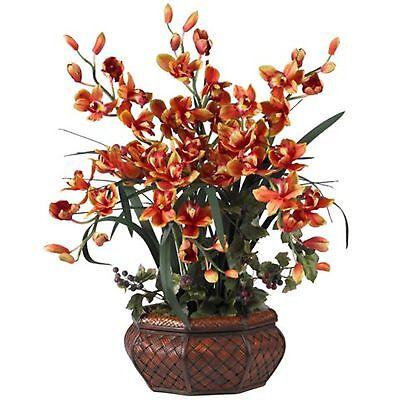 Decorative Natural Looking Artificial Large Burgundy Cymbidium Silk Faux Plant