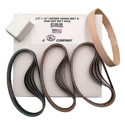 """1/2""""x12"""" High Grit Belt Pack Fits Work Sharp 15 Grit Belts & Leather Honing Belt"""