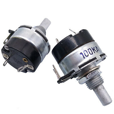 Us Stock 2pc 100k Ohm A100k Logarithmic Nolinear Potentiometer 2w Switch Wh134-2