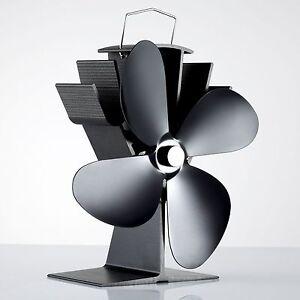 4 Blade Design Heat Powered Wood Burning Mini Stove Top Fan Eco Friendly Black