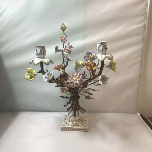"""ANTIQUE BRONZE CANDELABRA PORCELAIN FLOWERS N crown mark gilded 15"""""""