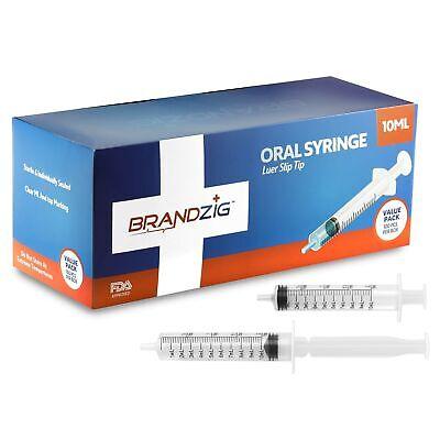 10ml Syringe - 100 Pack Luer Slip Tip Individually Wrapped - For Infants ...