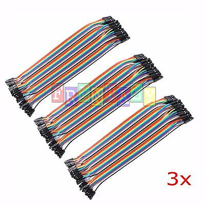 3x 3pcs 40pc Dupont Wire Jumper Cable 1p-1p 2.54mm Female To Female Length 20cm