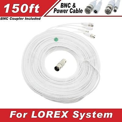 New High Quality White 150FT Thick BNC EXTENSION CABLES For Lorex Systems