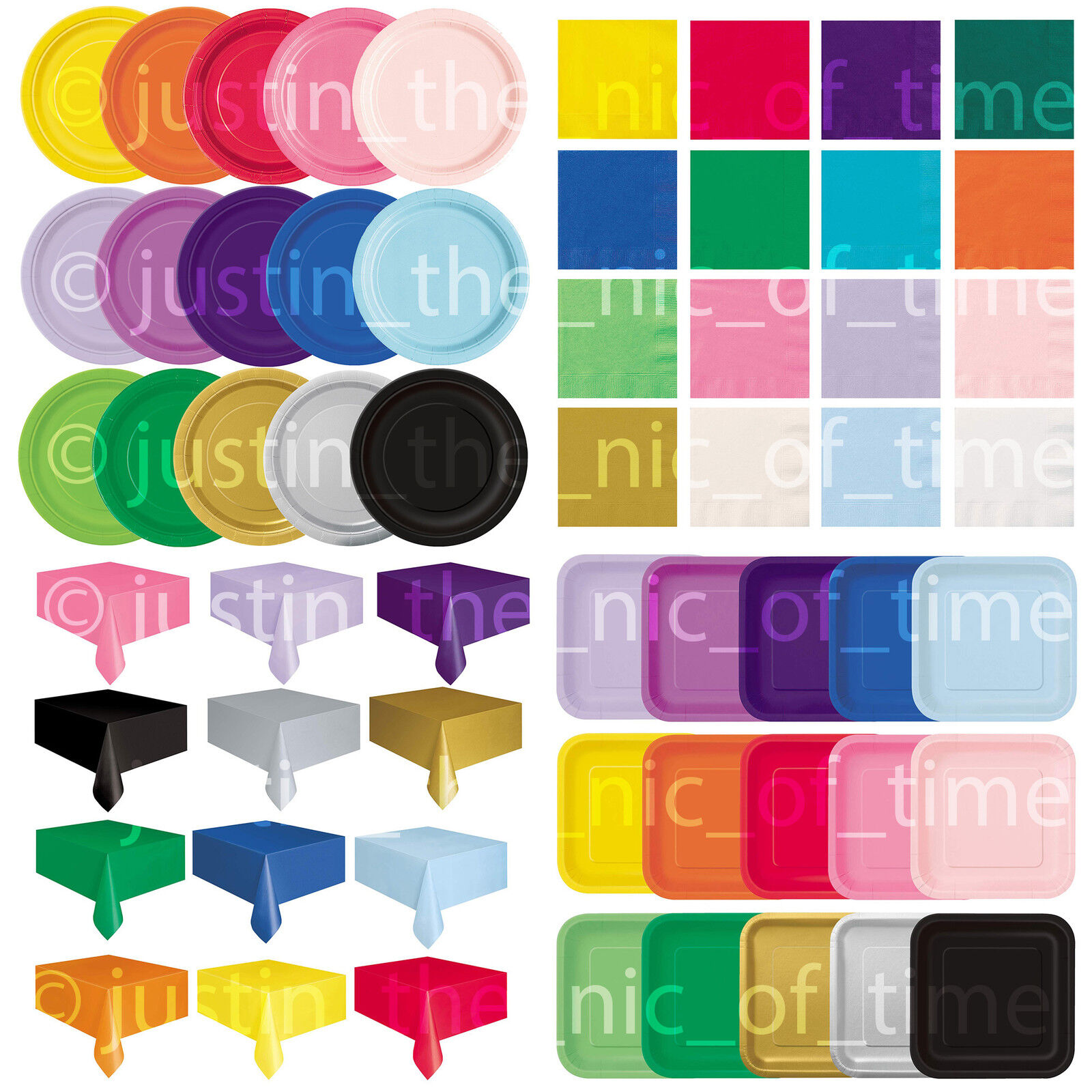 Plain Disposable Solid Colours Party TABLEWARE  Events Birth