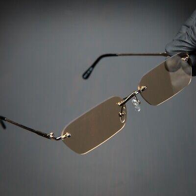Men's Gold Rectangle Vintage Rimless Brown Gradient Tint Polarized Sunglasses Polarized Brown Gradient Sunglasses