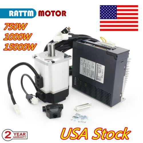 【USA】1000W 1500W 750W 1KW 1.5KW AC Servo Motor Driver CNC Kit without with brake