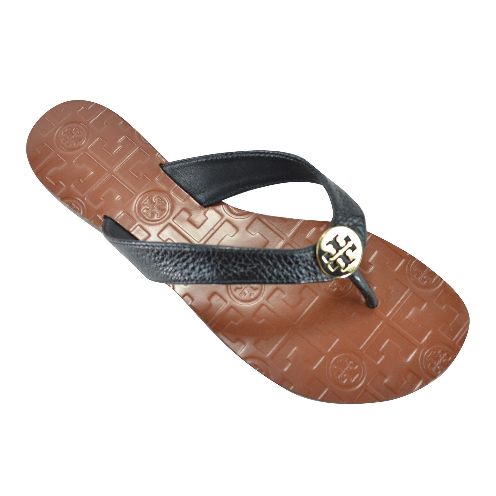 0f4ba97245bb Details about NEW Tory Burch THORA Leather Thong Sandals in Black Gold Size  9