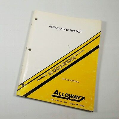 Alloway Rau Rowcrop Cultivator Parts Manual 61991 G-gz