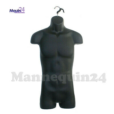Black Male Torso Mannequin With Hook For Hanging Men Dress Form