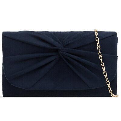 Plissee Damen Tasche (Marineblau Plissee Wildleder Hochzeit Damen Party Clutch Handtasche)
