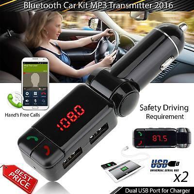 Car Kit Bluetooth FM Transmitter Hands Free Wireless U Disk MP3 Dual USB LCD AUX Fm Transmitter Hands Free Kit