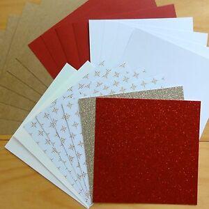 KAISERCRAFT CHRISTMAS KRAFT GLITTER & MIXED PAPER CARD PACK 6