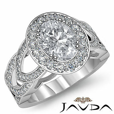 V Shaped Shank Double Prong Halo Oval Diamond Engagement Ring GIA I SI1 2.25 Ct