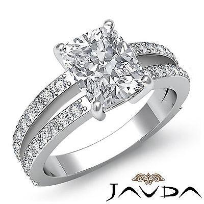 Cushion Diamond Split Shank Stunning Engagement Ring GIA G VS2 Platinum 1.4 ct