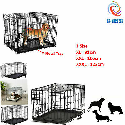 G4RCE Heavy Duty Metal Tray Foldable Pet Puppy Dog Cage Playpen Carrier Crate  Heavy Duty Tray