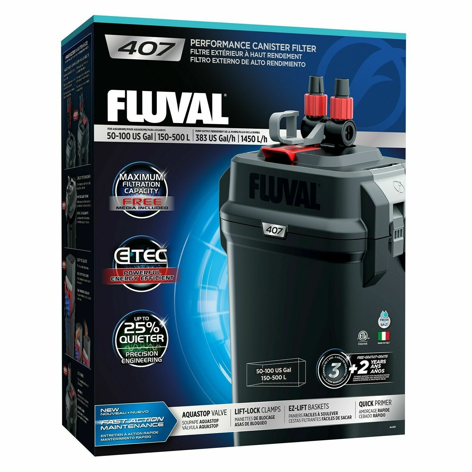 FLUVAL 407 Aquarium Canister Filter All Media included