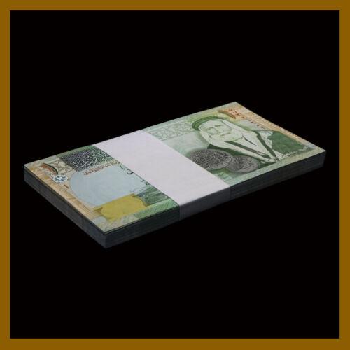 Jordan 1 Dinar x 50 Pcs Bundle, 2013 P-34g, Hussein Bin Ali Sharif, Camels Unc