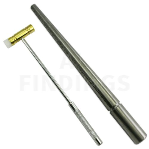 RING SIZER STICK UK STEEL RING MANDREL TRIBLET WITH NYLON HAMMER JEWELLERY TOOL