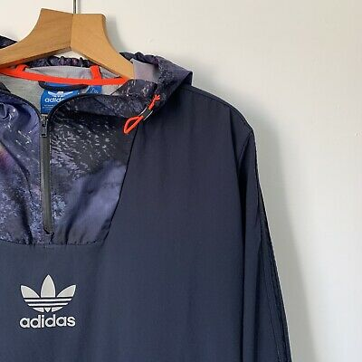 Mens Adidas Windbreaker Jacket Size Medium 1/4 Zip Lightweight Track Jacket Blue