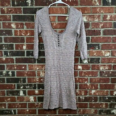 Free People Women's Size M Purple Pink Knit Crochet Body Con 3/4 Sleeve Dress