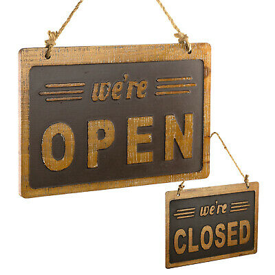 Were Openclosed Sign Easy To Mount Reversible Wooden Sign 8x12 Inches Brown
