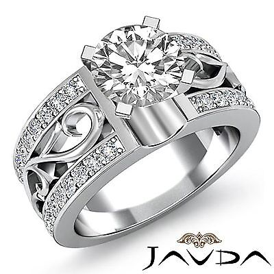 Round Pave Set Diamond Engagement Fashion Ring GIA F SI1 14k White Gold 2.05ct