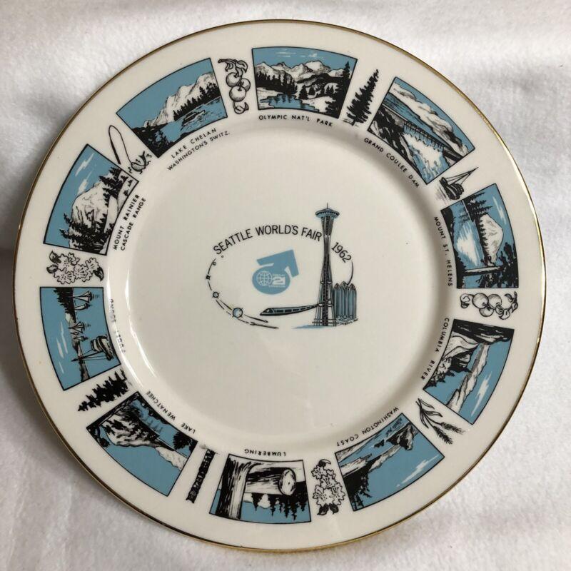 "Vintage Seattle Worlds Fair 1962 Gold Rim 10.5"" Plate Blue Viletta"