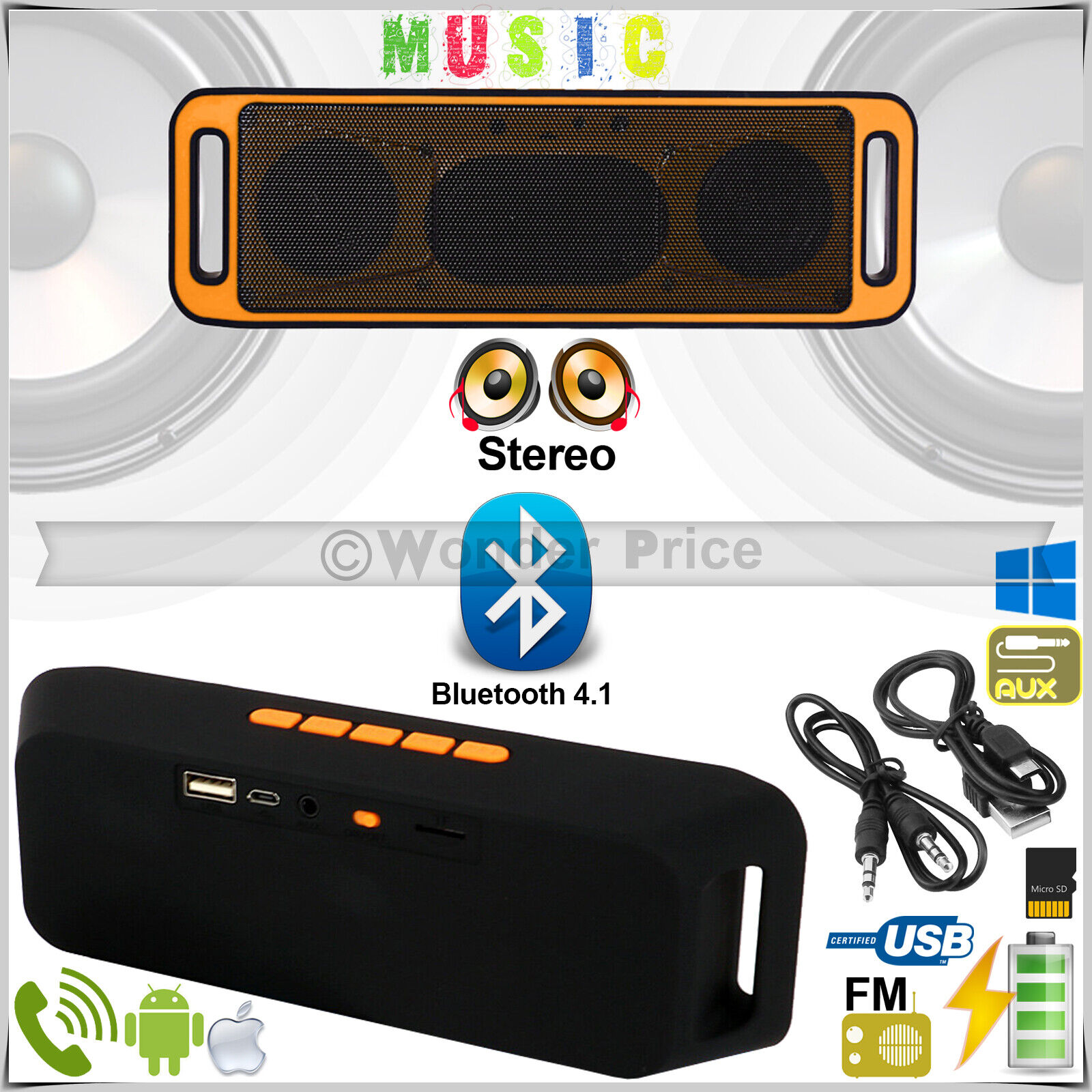 Wireless Bluetooth Speakers Bass Stereo TF Aux Radio USB For iPhone iPad Phones
