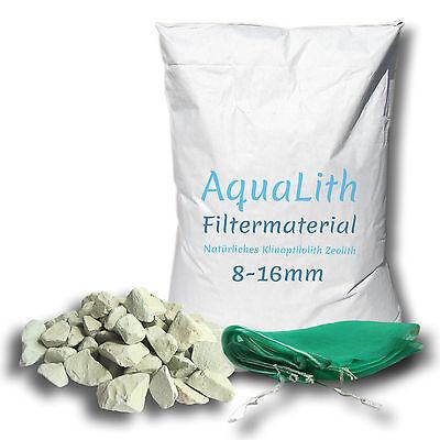 ZEOLITH 8-16 MM 25KG + 2x Filtersäcke XL Filtermaterial Koi Teich Aquarium